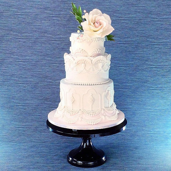 Blush Colored Cake on Black 16 inch Cake Stand