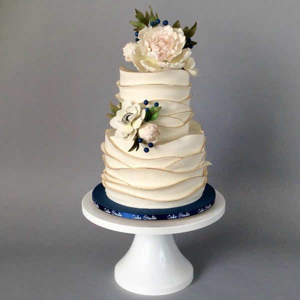 Textured Cake on 14 inch White Cake Stand