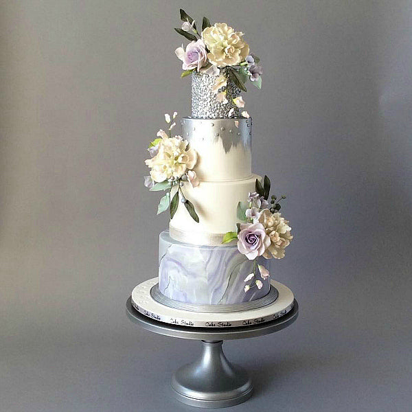Sliver and Lilac Marbled Cake on Silver 16 inch Cake Stand