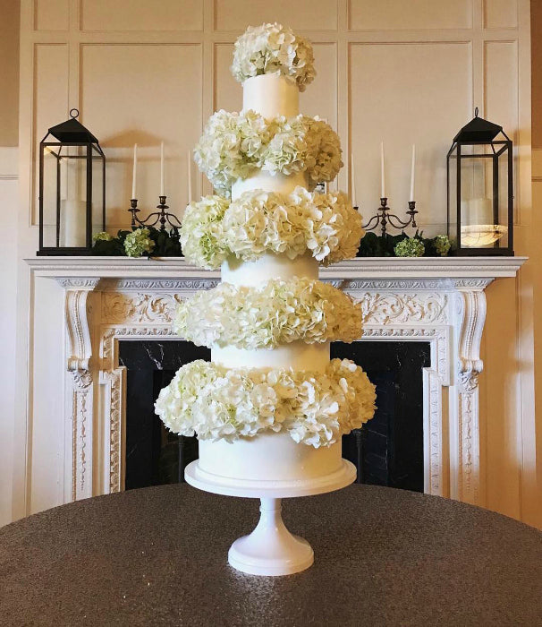 White Cake with Hydrangea's on 16 inch White Cake Stand