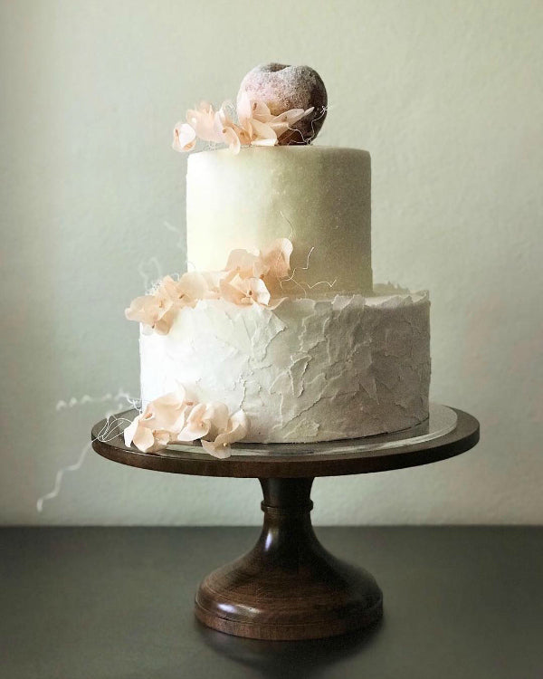 Creme and Blush Cake on 16 inch Natural Wood Cake Stand