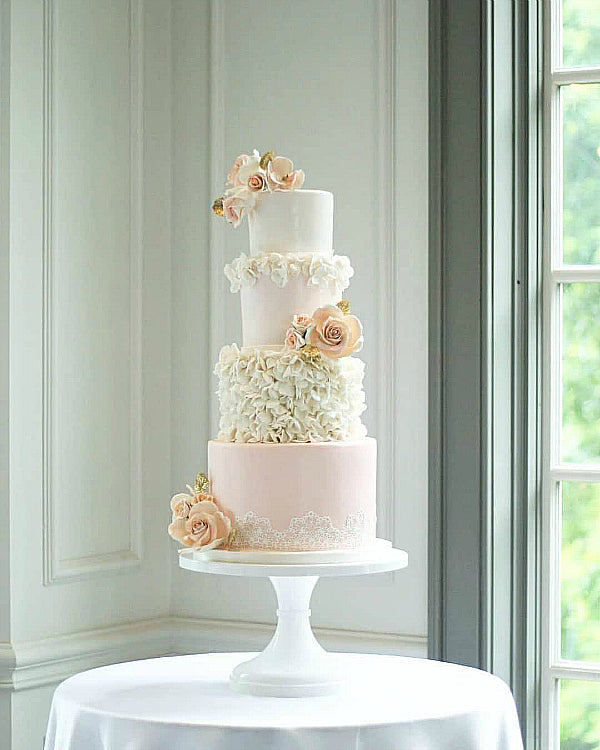 Textured Blush Cake on White 14 inch Cake Stand