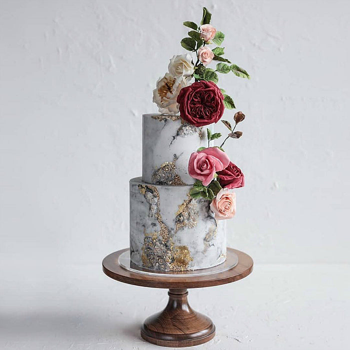 Marbled Cake with Flowers on 16 inch Natural Wood Cake Stand