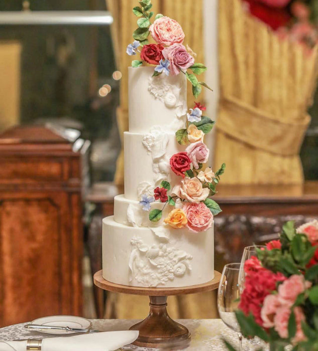 Floral Cake on 14 inch Sustainable Wood Cake Stand