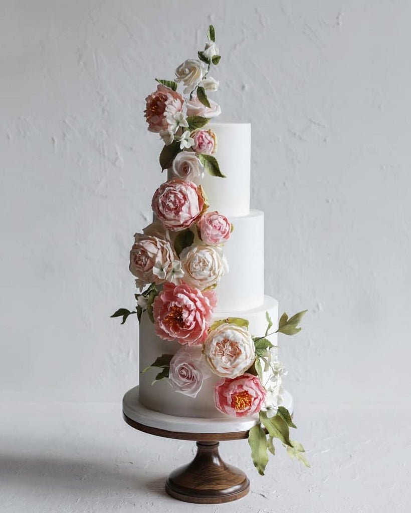 Cake with Cascading Peonies on 16 inch Wood Cake Stand