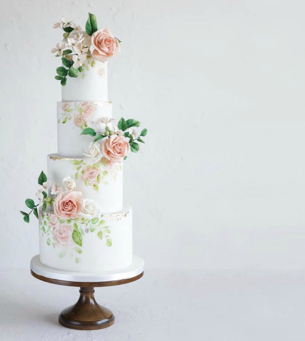 Floral Cake on 14inch Natural Wood Cake Stand