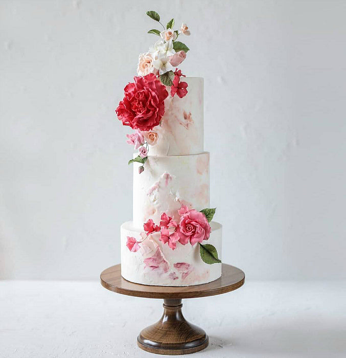 Floral Cake on 16 inch Natural Wood Cake Stand