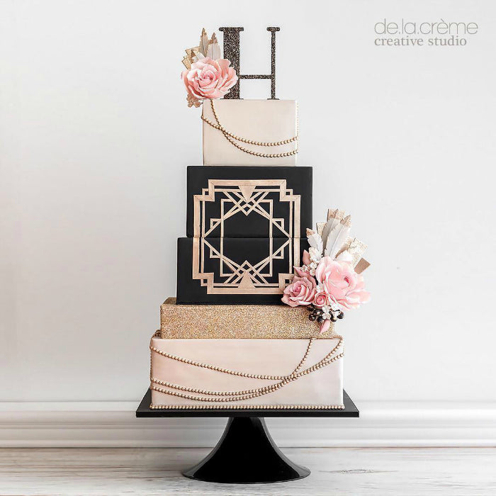 Art Deco Cake on Black 14 inch Cake Stand