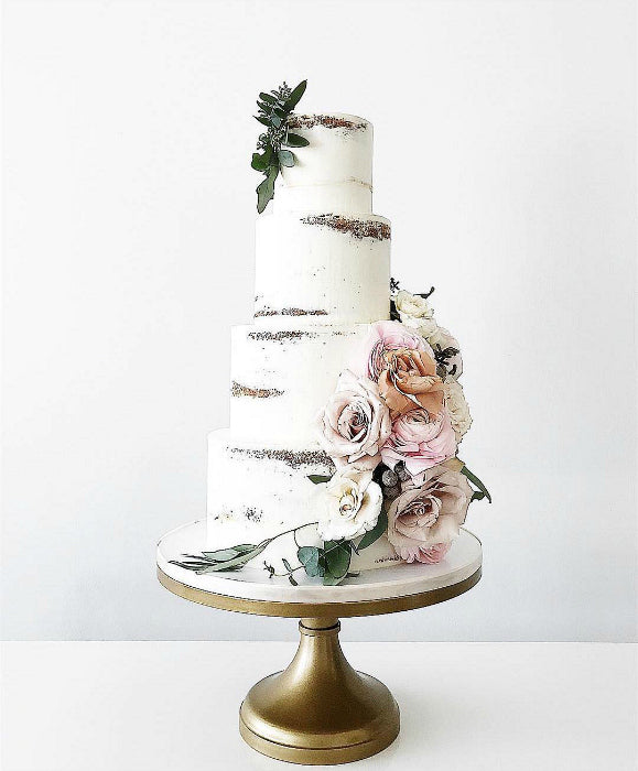 Barley Naked Cake on Gold 16 inch Cake Stand
