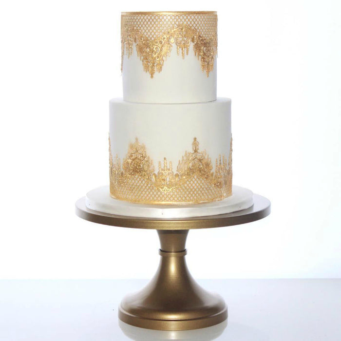 White and Gold Cake Stand on 14 inch Gold Cake Stand
