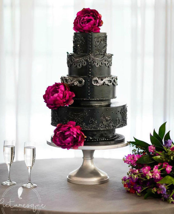 Intricate Black Cake on Silver 16 inch Cake Stand