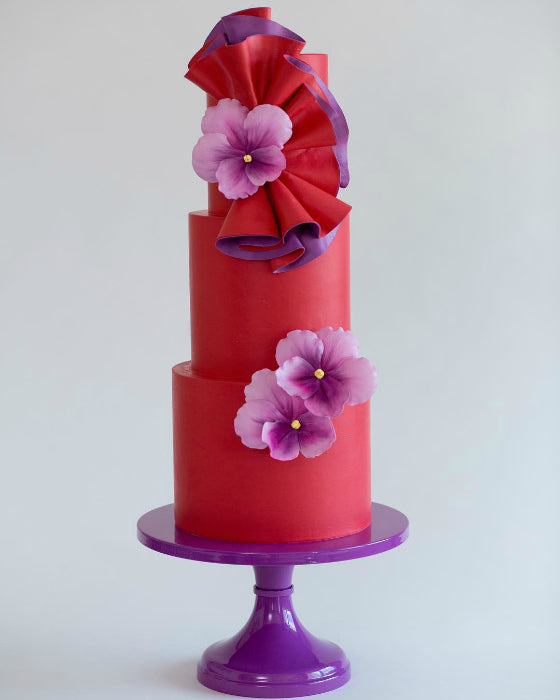 Red and Violet Cake on 14 inch Violet Cake Stand