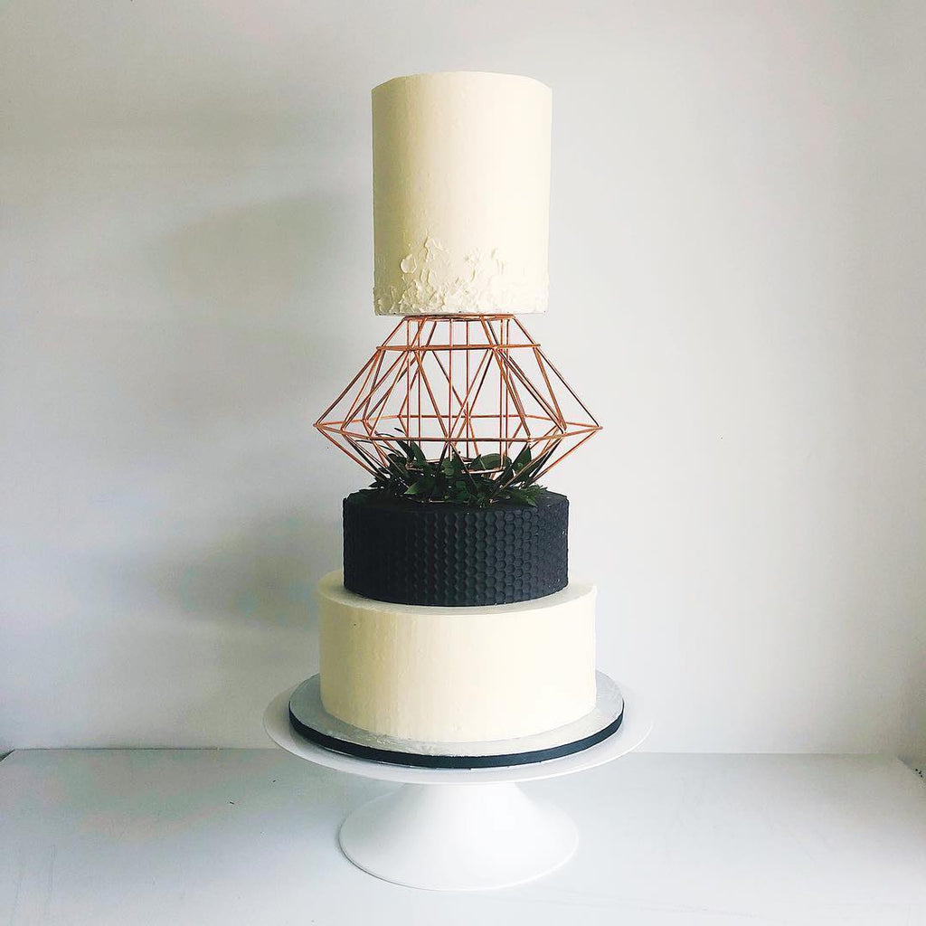 Modern Cake on 14 inch White Cake Stand