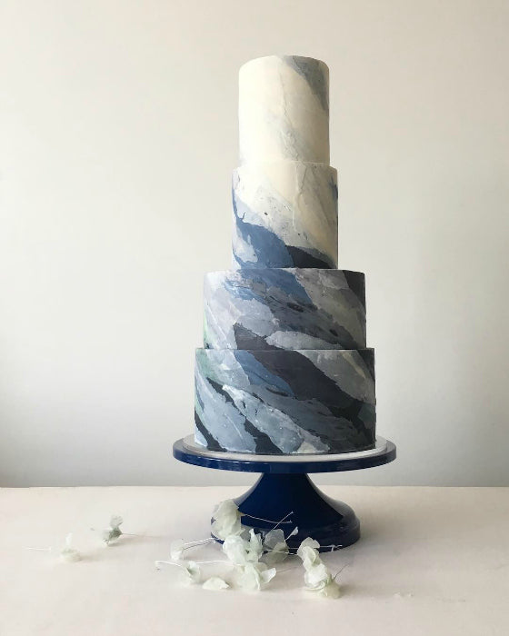 Water Colored Cake on Blue 14 inch Cake Stand