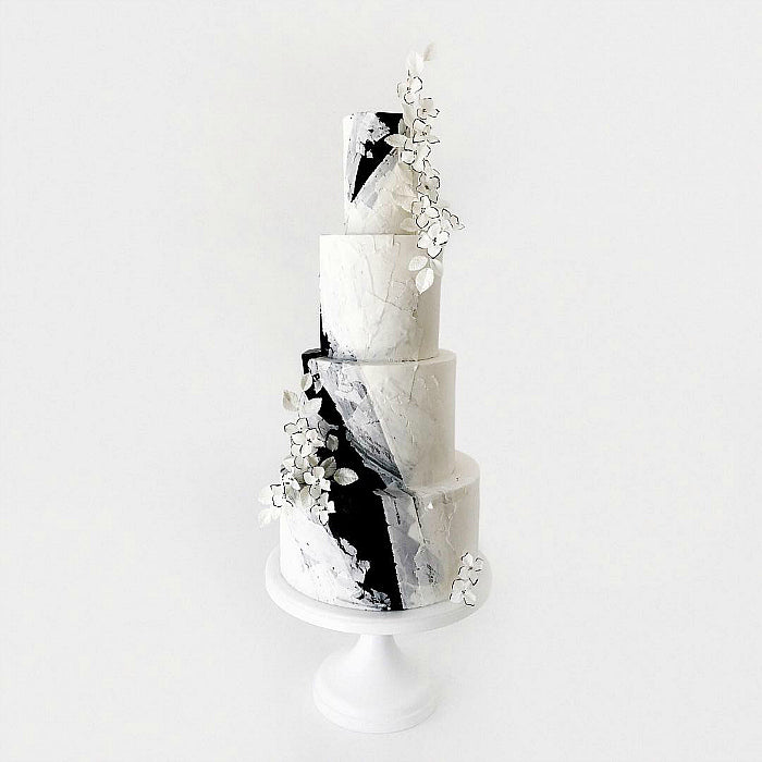 Black and White Cake on White 16 inch Cake Stand