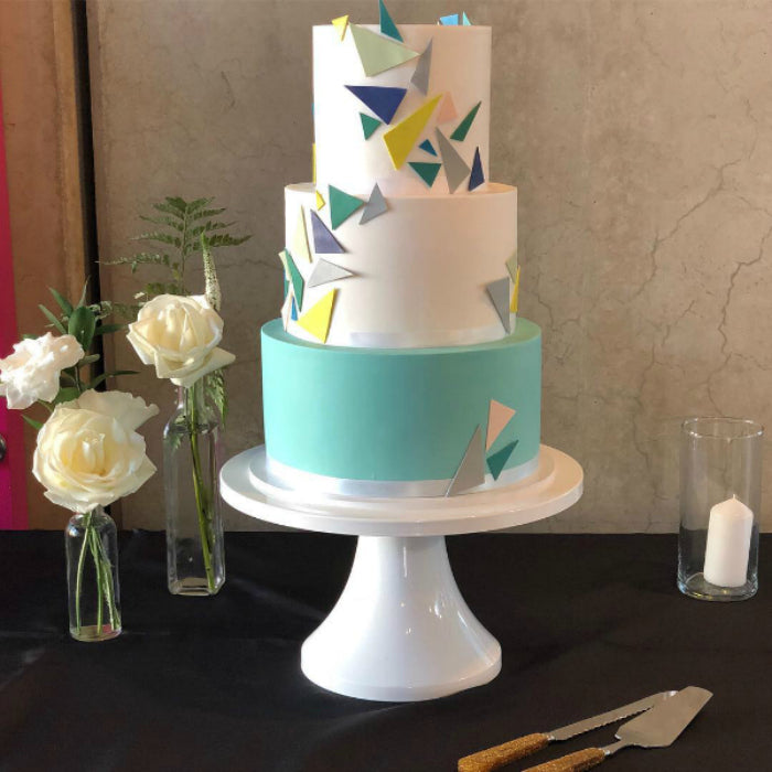 Modern Cake on White 14 inch Cake Stand