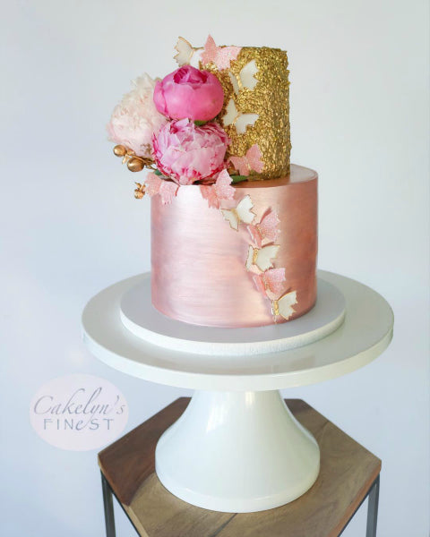 Pink and Gold Cake on White 16 inch Cake Stand
