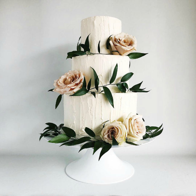 Rustic Cake with Roses on 14 inch White Cake Stand