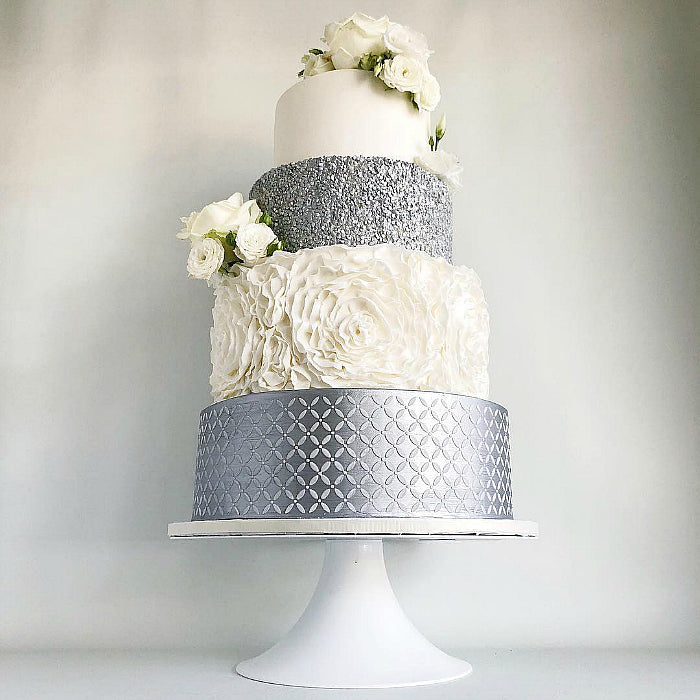 Cream and Silver Cake on White 14 inch White Cake Stand