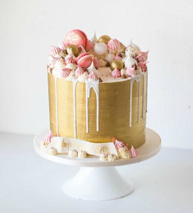 Gold Cake on White 14 inch Cake Stand