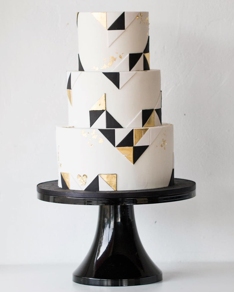 Black and Gold Gemetric Designed Cake on14 inch Black Cake Stand