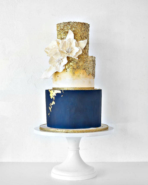 Blue and Gold Post Modern Cake on 14 inch White Cake Stand