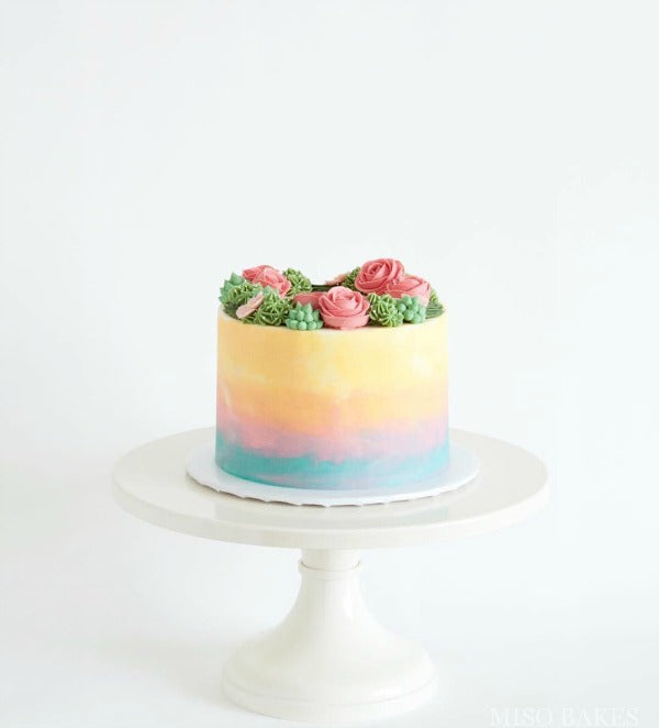 Watercolor Cake on White 14 inch Cake Stand