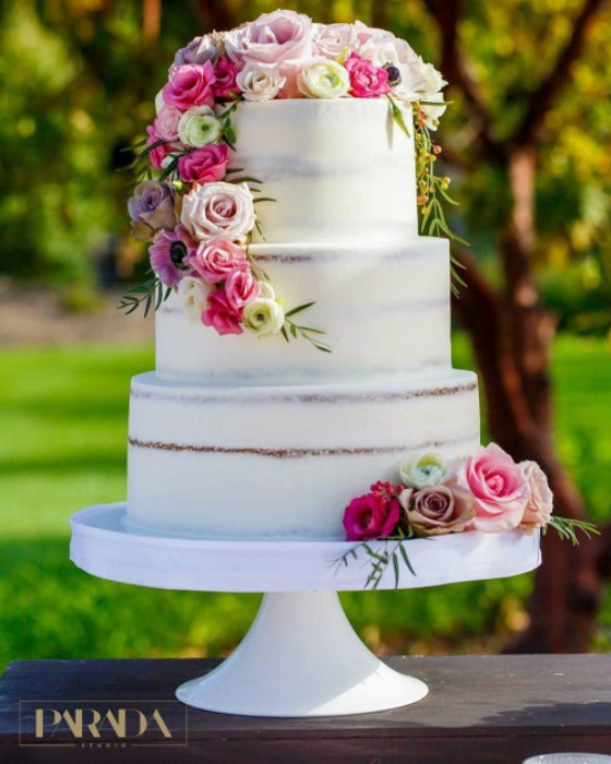 Barely Naked Cake on 14 inch White Cake Stand