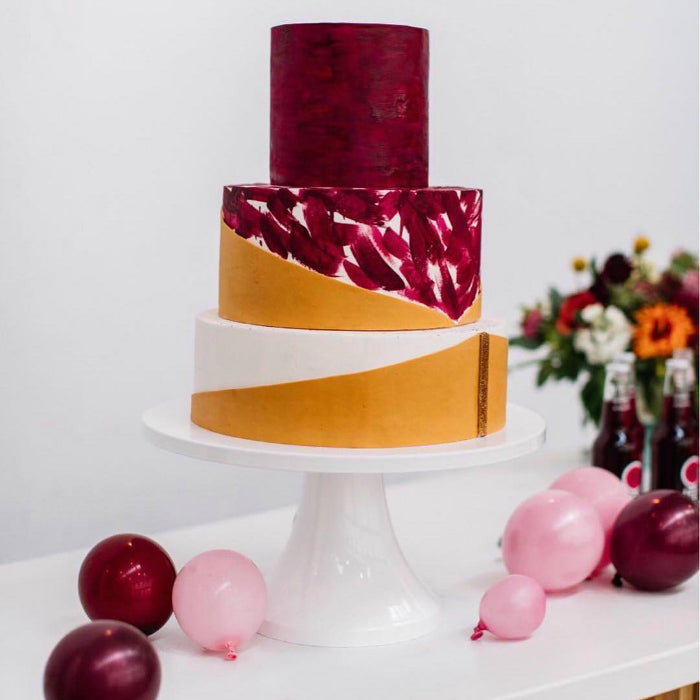 Modern Cake on 16 inch White Cake Stand
