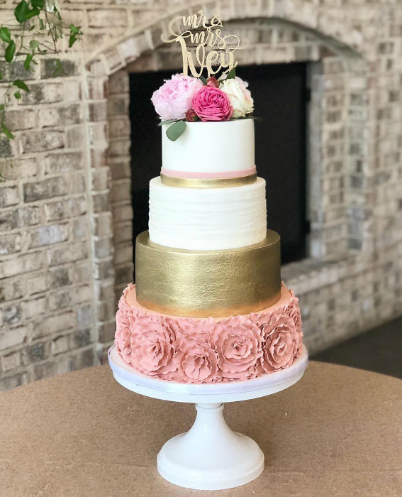 Blush and Gold Cake on White 16 inch Cake Stand
