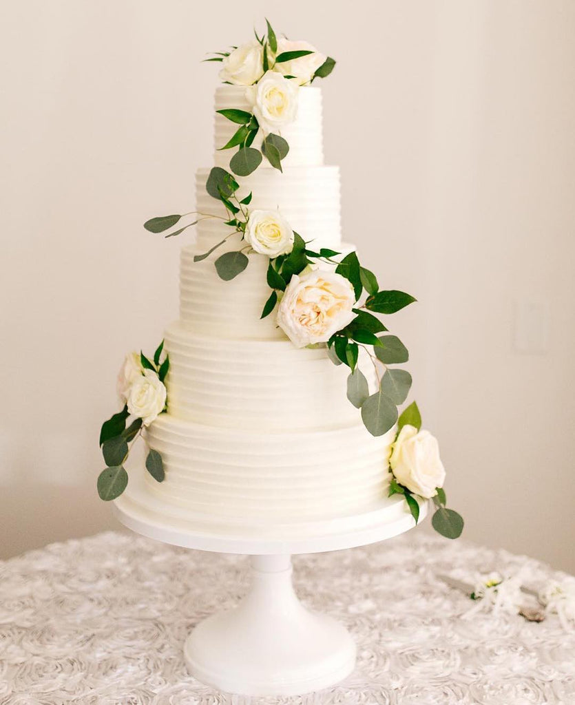 White Textured Cake on White 14 inch Cake Stand