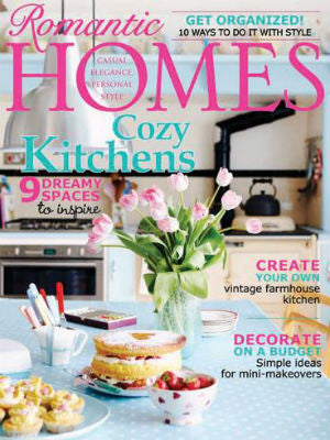 Romantic Homes, sept 2013, cover, cake stand