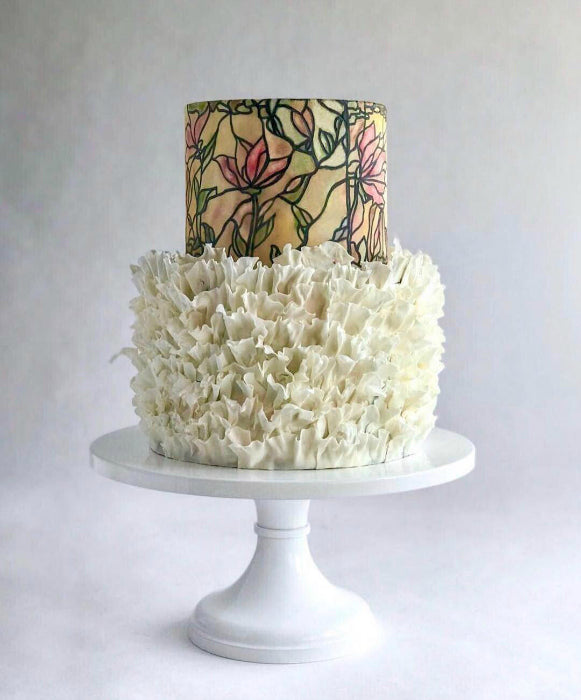 Stained Glass Cake on White 16 inch Cake Stand & Stained Glass Cake on White 16 inch Cake Stand I Sarahu0027s Stands