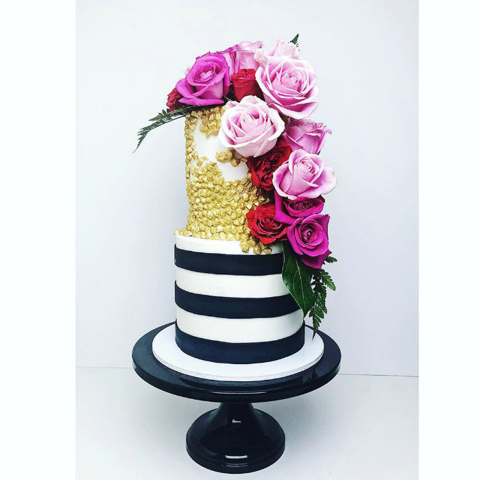Modern Cake on Black 14 inch Cake Stand
