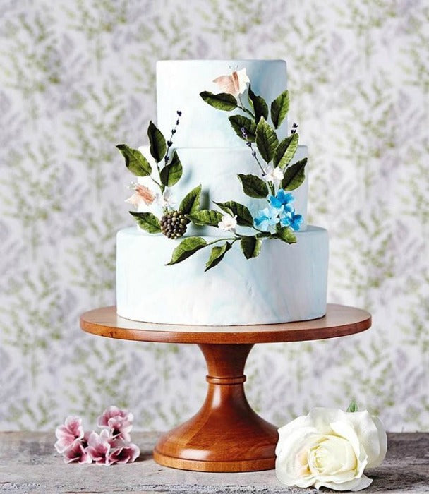 Floral Cake on 16 inch Sustainable Wood Cake Stand