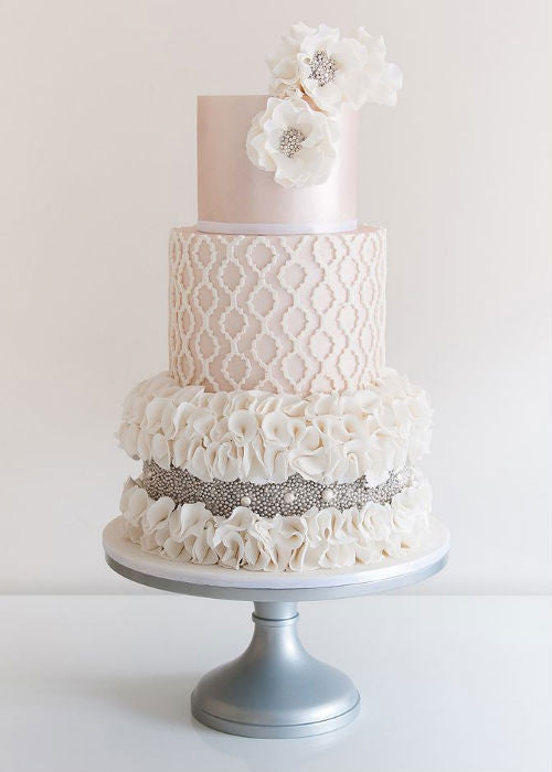 Romantic Wedding Cake on a 14 inch Silver Cake Stand