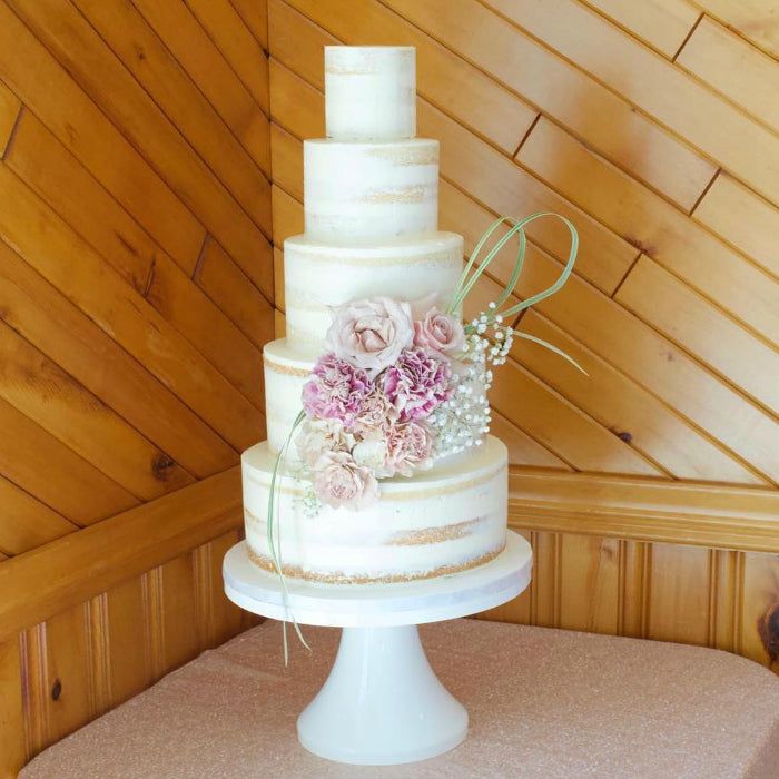 Barely Naked Cake on White 16 inch Cake Stand