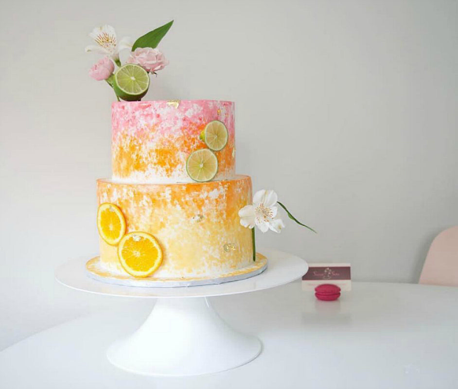 Citrus Cake on White 14 inch Cake Stand
