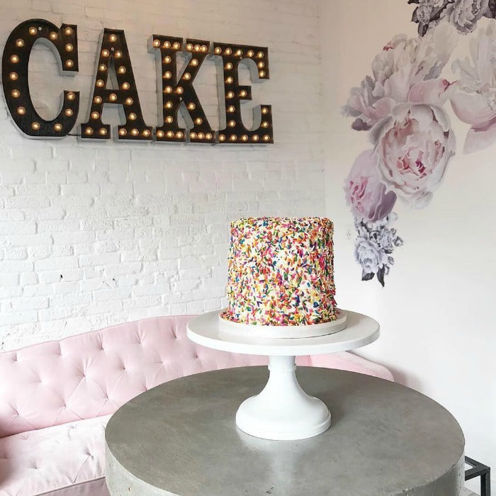 Confetti Cake on White 18 inch Cake Stand