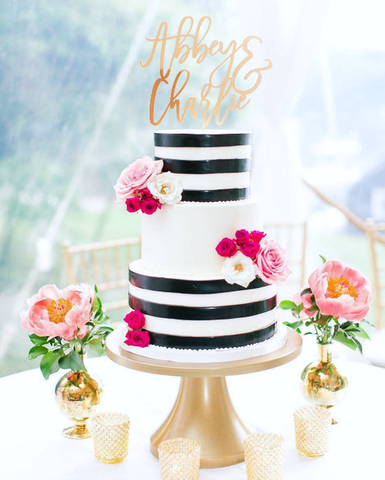 Black and White Cake on Gold 14 inch Cake Stand