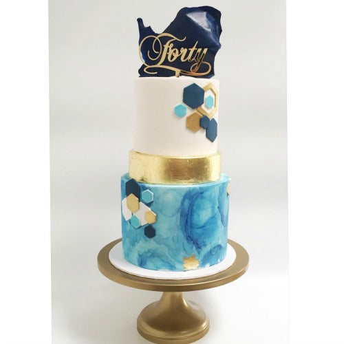 Blue and Gold Art Deco Inspired Cake on Gold 14 inch Cake Stand