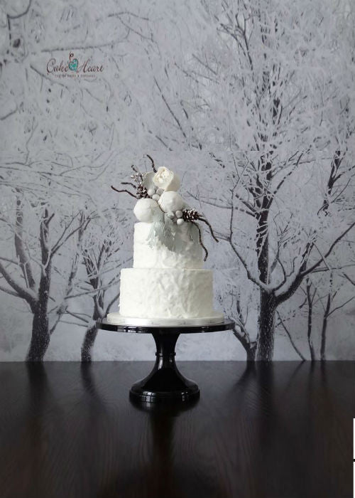 Winter Cake on Black 12 inch Cake Stand