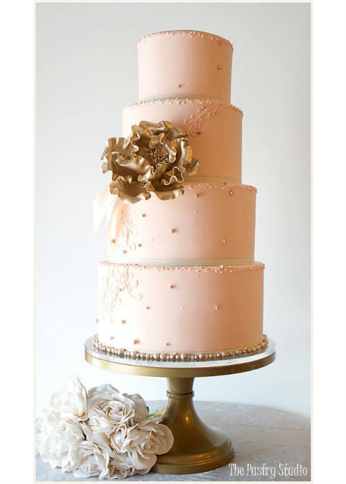 Elegant Pink Cake on a 14 inch Gold Cake Stand