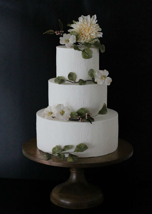 Rustic Floral Cake on 16 inch Wood Cake Stand