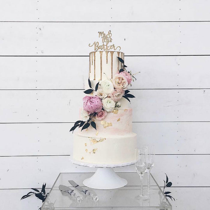 Blush and Gold Cake on White 10 inch Cake Stand