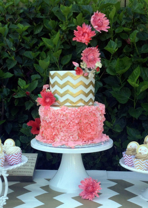 Floral & Chevron Cake on a 14 inch White Cake Stand