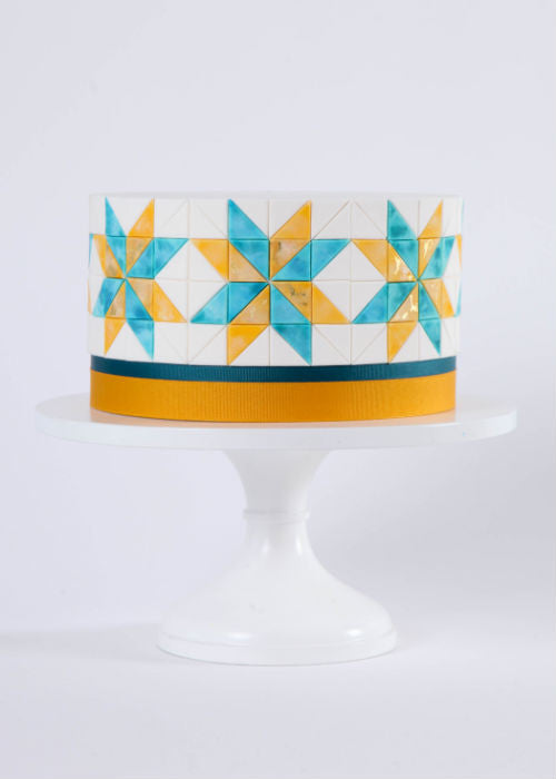 Colorful Geometric Cake on a White 12 inch Cake Stand