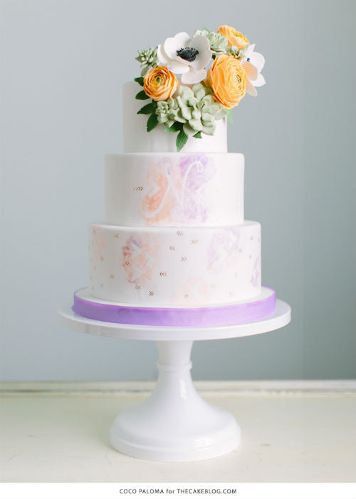 Relaxed Bohemian Cake on a 12 inch White Cake Stand