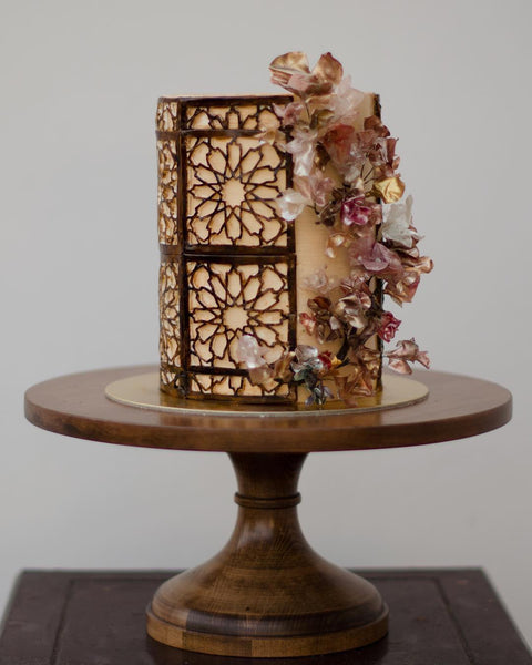 Modern Cake on natural wood cake stand