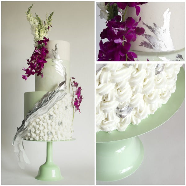 Mint Green Wedding Bell Cake Stand Collage